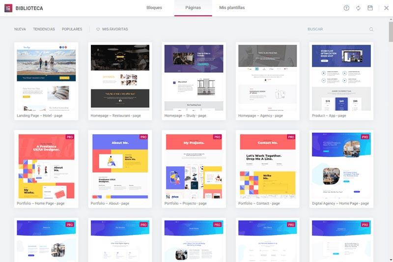 Captura pantalla Elementor Plantillas de Páginas