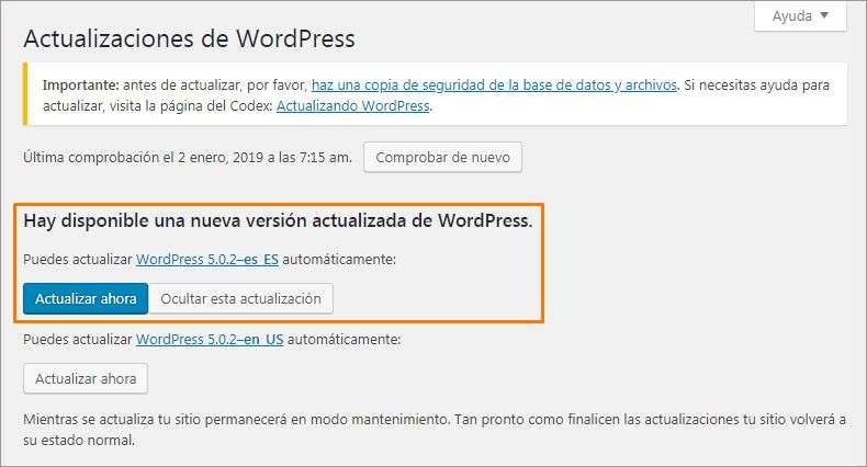2 actualizar wordpress ahora