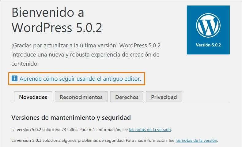 4 actualizar wordpress bienvenido