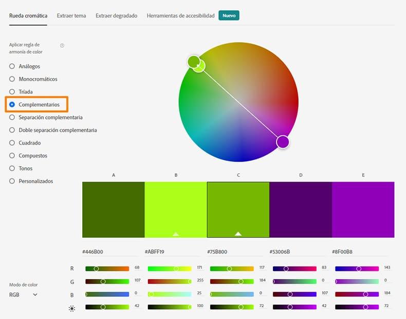 adobe color cc complementarios