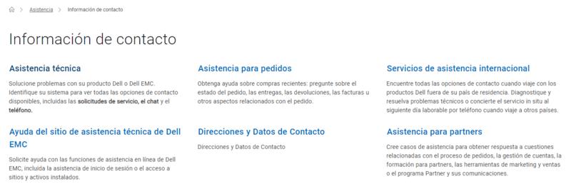 Varios departamentos en página de contacto