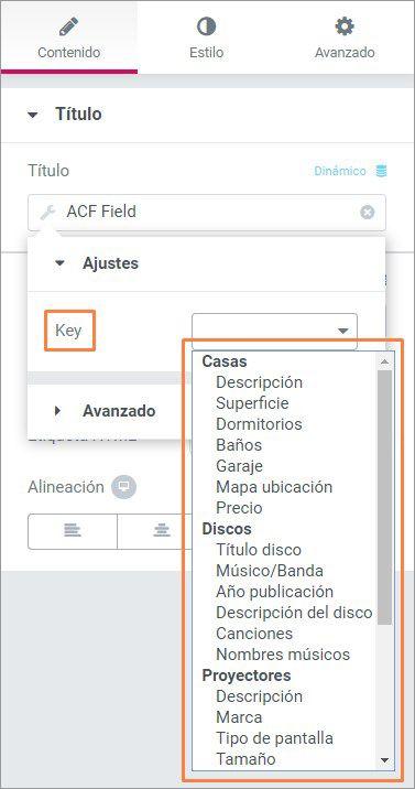 elementor acf field key