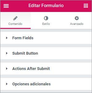 formulario elementor opciones