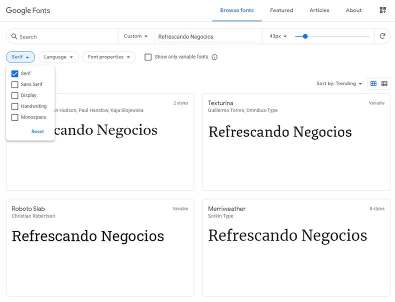 fuentes serif