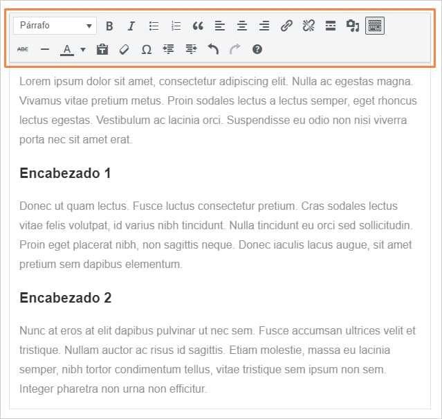 Captura de las opciones del bloque 'Clásico' de Gutenberg