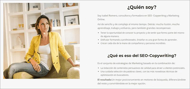 Página 'Sobre mí' de Isabel Romero.