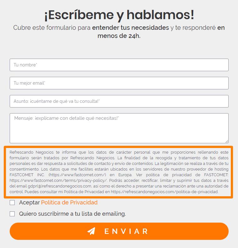 Texto legal en formulario de Refrescando Negocios.
