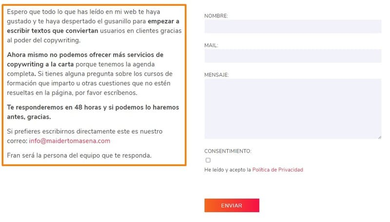 Página de contacto de Maïder Tomasena