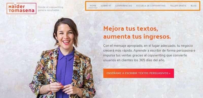 Homepage web de Maider Tomasena