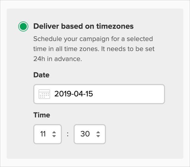 mailerlite entrega zona horaria