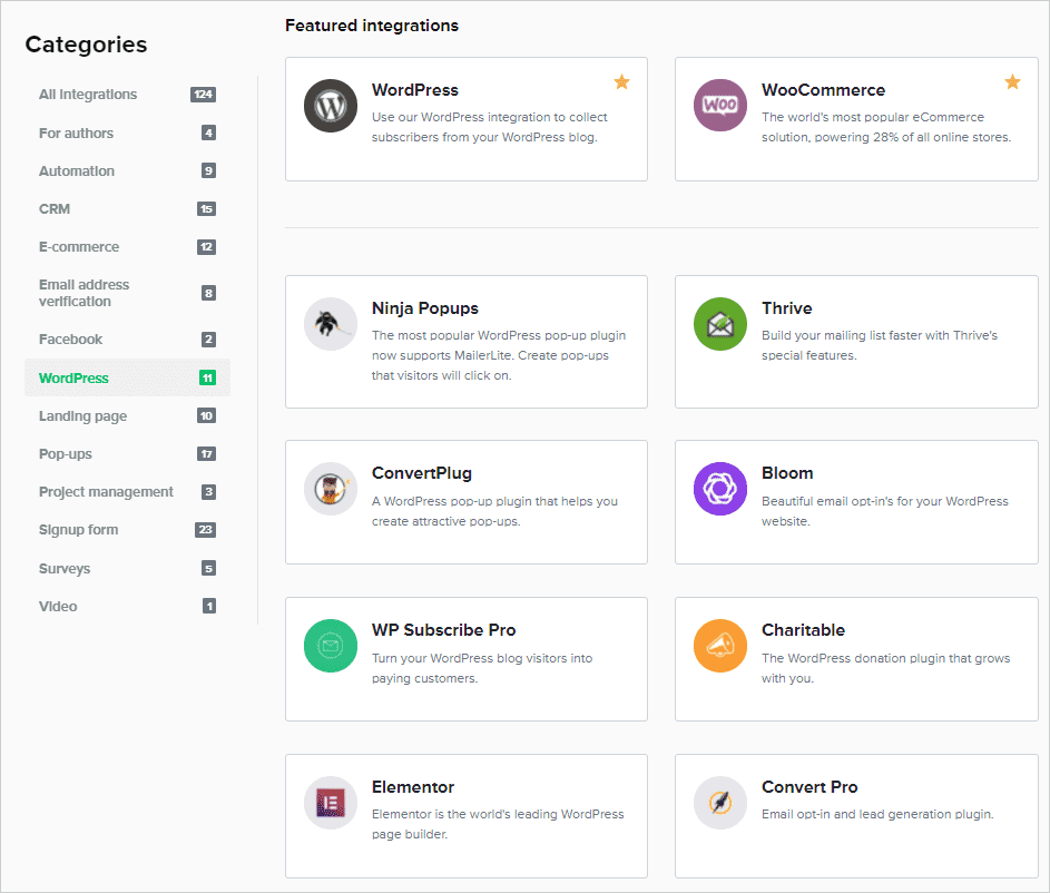 mailerlite integraciones