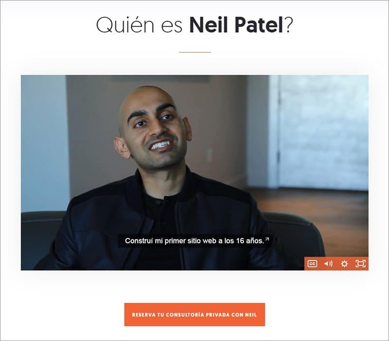 Vídeo en la página 'Sobre mí' de Neil Patel