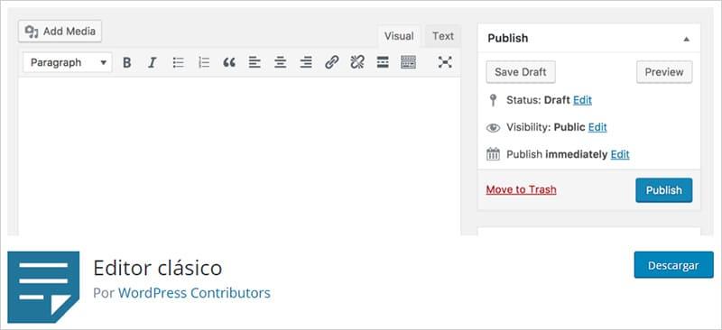 Plugin 'Editor clásico' WordPress