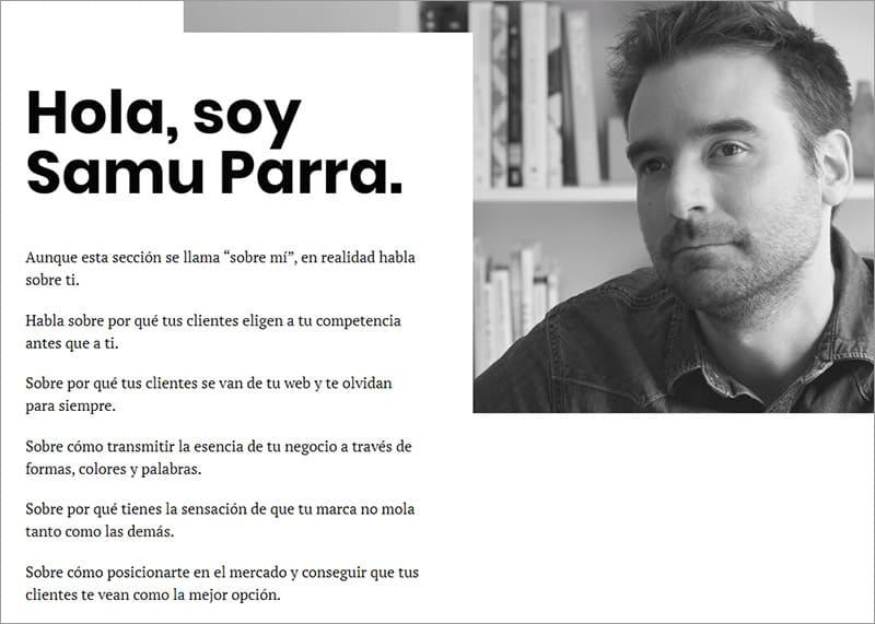 'Sobre mí' de Samu Parra.