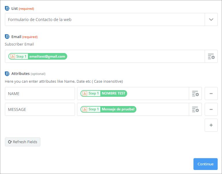 sendinblue setup suscriptor completo
