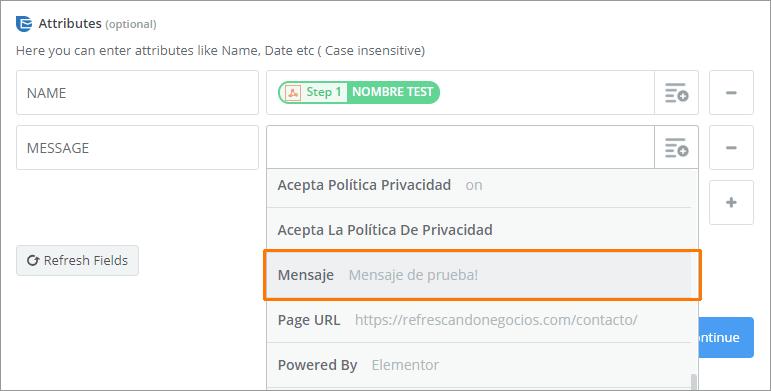 sendinblue setup suscriptor mensaje