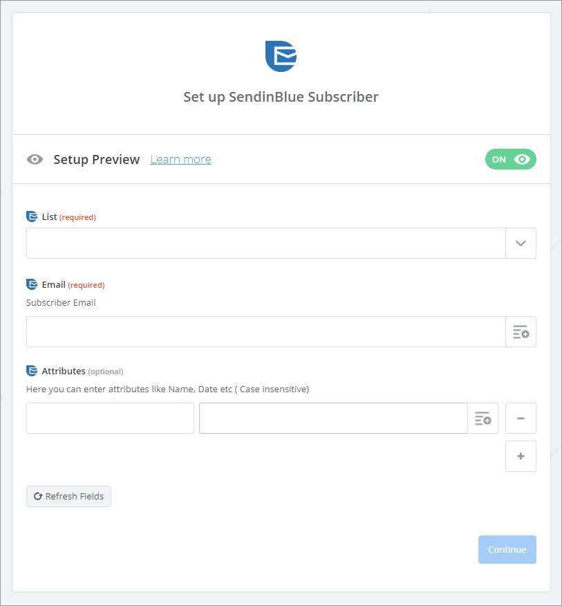 sendinblue setup suscriptor