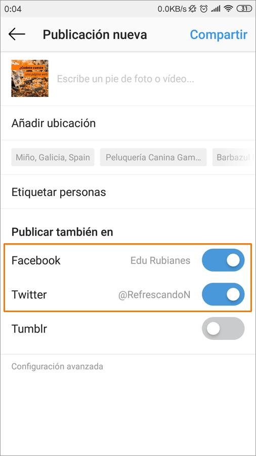 vincular instagram con facebook y twitter 13