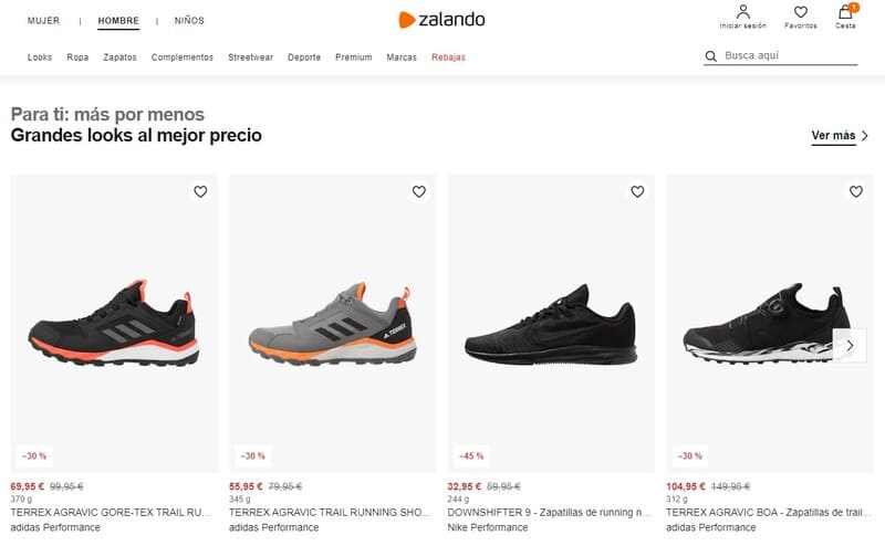 Contacto en web de Zalando